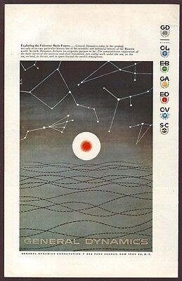 1957 General Dynamics Ad - Erik Nitsche Art - Basic Forces Of The Universe