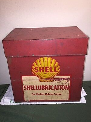 Vtg 1940**rare** Shell Lubrication Gas Oil Rack Box Sign W/ Lube Service Station