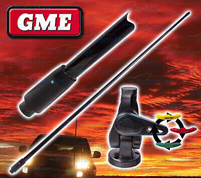 Gme Black Vhf Boat Marine Radio 1.2 Metre Antenna + Base Aw364Vb Abl014B New
