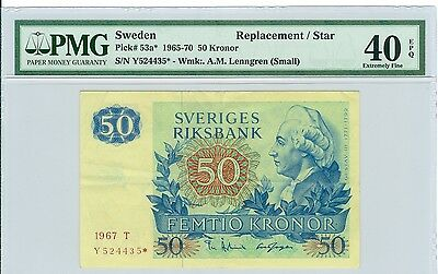 1967 SWEDEN 50 KRONOR REPLACEMENT/STAR NOTE-P# 53a*-PMG 40EPQ