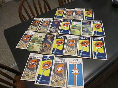 22 Vintage Gulf Gas Station Lithograph Road Maps