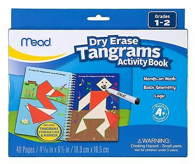 Mead Dry Erase TANGRAMS Activity Book STEM TOY Game Grades 1-2 NEW Stocking Gift
