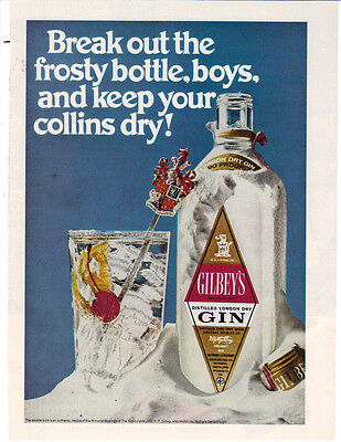 1969 Break Out The Frosty Bottle Gilbey's Gin Ad