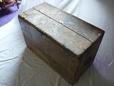 Old Carpenters Wooden Tool Box And Tools