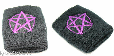 NEW Pair Stretchy Embroidered Star Black Wrist Sweatband Exercise Sports Warm-up
