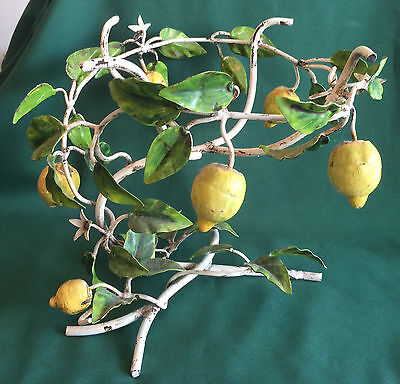 Vintage Italian Tole Toleware Lemon Tole Lemons Stand For Bowl Planter 1950s