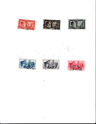 ITALY-- Used set of 6  Hitler and Mussolini (1941)  stamps