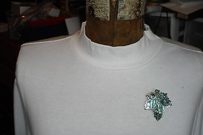 Large Vintage Sterling Silver .925 & Abalone Shell Maple Leaf Brooch or Pin