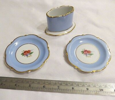 Royal Bayreuth Small Plates And Toothpick Match Holder Made In Germany Antique