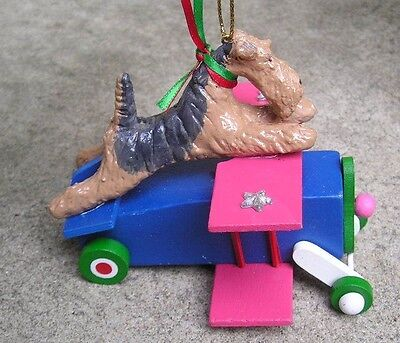 Airedale Terrier Wood AIRPLANE Ornament!