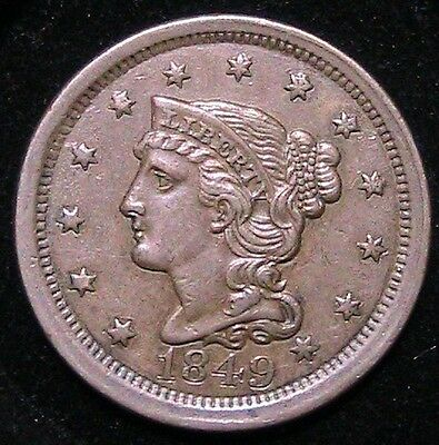1849 Large Cent ,About Uncirculated details, good looking coin see photos