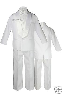 Baby Infant Toddler Boy Wedding Formal Satin Shawl Lapel Tuxedo White Suits S-4T