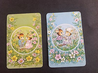 Swap Card Vintage Pair Of Mice Playing Cards Blank Backs