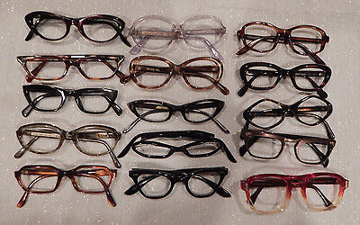 Vintage 15 pc. Plastic Eyeglass Frame Lot New Old Stock lot #1