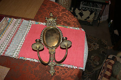 Victorian Style Brass Metal Wall Mounted Sconce Candlestick Holders W/Mirror