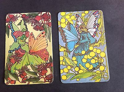 Swap Cards Vintage Retro Pair. Fairies/ flowers Butterfly Blank Back