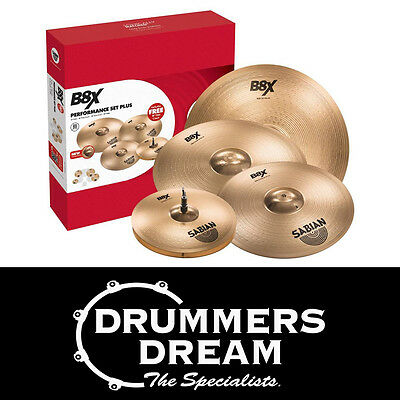 "Brand New SABIAN B8X Performance Cymbal Pack 14"" 16"" 20"" with Free 18"" Crash"