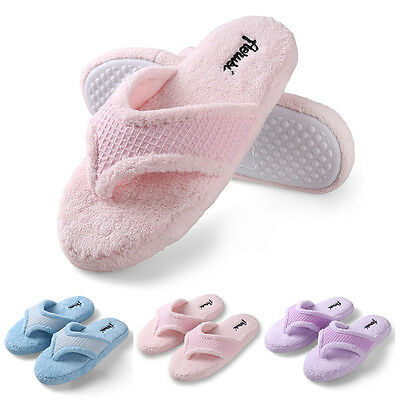 Aerusi Women Winter Warm Cozy Thong Spa Slippers Soft Plush Indoor House Shoes