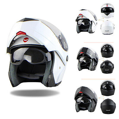 HELMO Matt Black Motorcycle Helmet FLIP UP Full Face Scooter Crash Motorbike