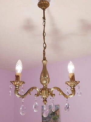Charming 3 Light Vintage French Bronze and Crystal Chandelier