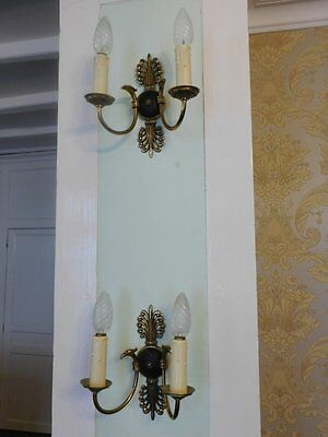 Lovely Pair of Vintage French Bronze Eagle Head Empire Double Wall Lights