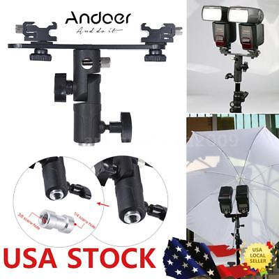 Dual Hot Shoe Swivel Lamp Speedlight Flash Light Stand Mount Bracket Holder W3B0