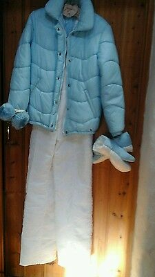 LUHTA ski suite..RETRO blue & white ....small.  With Ear Muffs & Mitts..