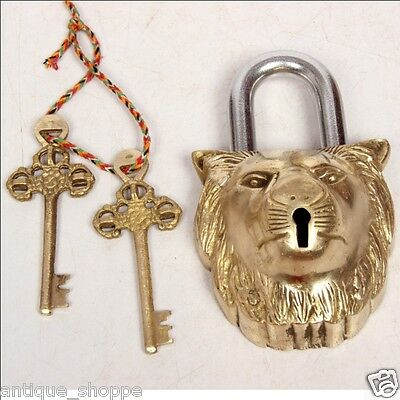 Handcrafted Unique Lion Face Engraved 2 Key Padlock , Collectible 6864A