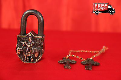 Brass Handcrafted Krishna With His Cow Figure Embossed Lock With 2 Keys 936A