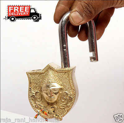 Brass Unique Handcrafted Lord Bhudha Face Engraved / Embossed 2Key Padlock 6887A