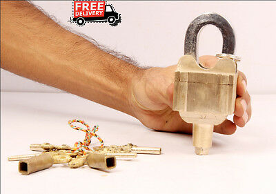 Vintage 4 Keys Brass Tricky / Puzzle Pad Lock, Collectible, Rich Patina 6908