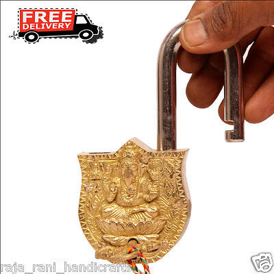 Brass Unique Handcrafted Goddess Laxmi Engraved / Embossed 2 Key Padlock 6877A