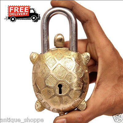Unique Brass Handcrafted Tortoise Shape Engraved Pushbutton Tricky Padlock 6870A