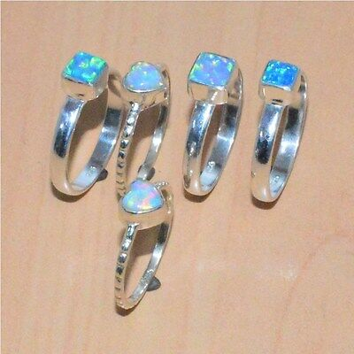 5PC WHOLESALE 925SOLID STERLING SILVER ETHIOPIAN OPAL RING LOT-(6.6g.)