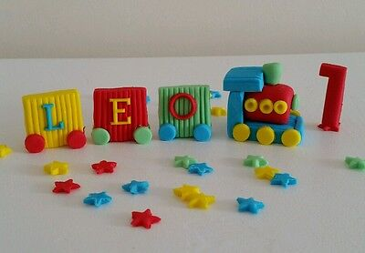 Edible train birthday name age number cake topper decoration