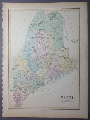 Map of Maine, USA, by Bartholomew for the A & C Black Atlas, 1853