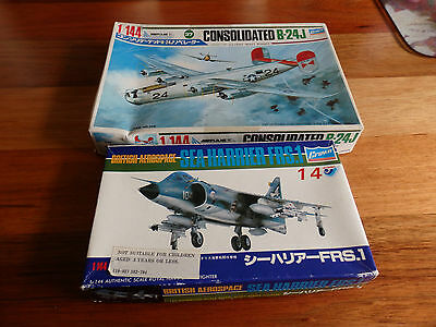 Two.Crown  Model Airplane kit. 1/144 scale. Liberator B-24J Bomber & Sea Harrier