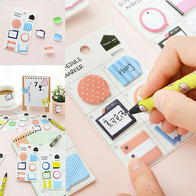 Cute Paper Scheme Marker Sticky Pad Memo Bookmark Notes Pad School Office Supply