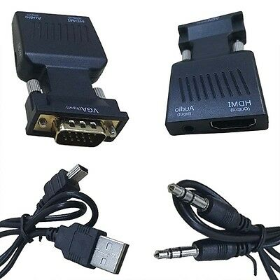 1080P HD VGA to HDMI AV Connector HDTV Audio Cable Cords Adapter For PC DVD Lead
