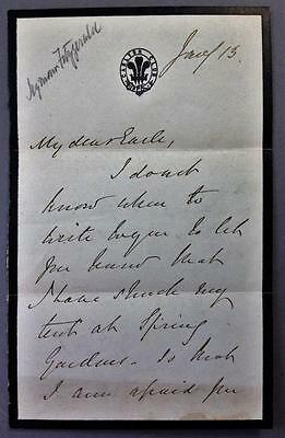 Seymour Fitzgerald, Governor of Bombay, India, ALS, SIGNED letter, AUTOGRAPH