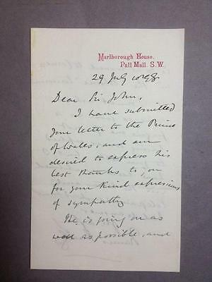 Sir Francis Knolleys, Private Sec. to Queen Victoria, ALS, SIGNED letter, 1898