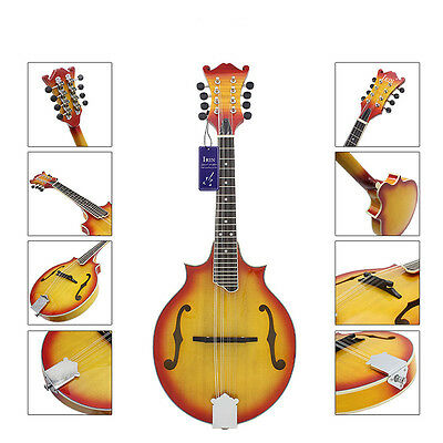 8 Strings Basswood Sunburst Mandolin Musical Lovers Perform With Rosewood Bridge
