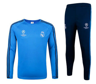 Kids size Blue Real Madrid UCL Football Soccer Training Tracksuit Top & Bottom