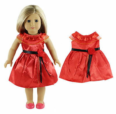 Doll Clothes for 18 Inch American Girls Doll Princess Party Dress Skirt Dark
