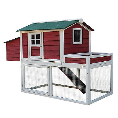"Pawhut 63"" 2- Story Chicken Coop Poultry Cage Hen House Solid Wood W/ Ramp Run"