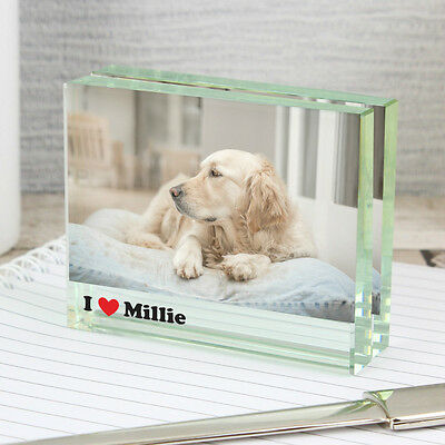 PERSONALISED I Heart.... Crystal Block Photo Frame - Add Pets Name, Dog , Cat
