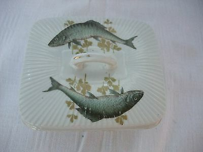 Victorian Sardine dish - lidded and decorated with sardines