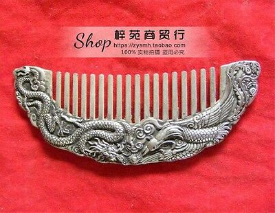 adornment  ancient Chinese Tibet silver carved  extremely good fortune  comb by