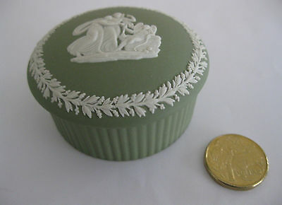 Large Wedgwood Jasperware Trinket Box in Sage Green with White Decoration