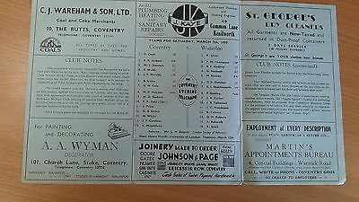 Coventry v Waterloo 7th March 1959 Rugby Programme